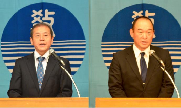 愛媛県・藤原研究部長(左)宮崎県・尾﨑研究部長